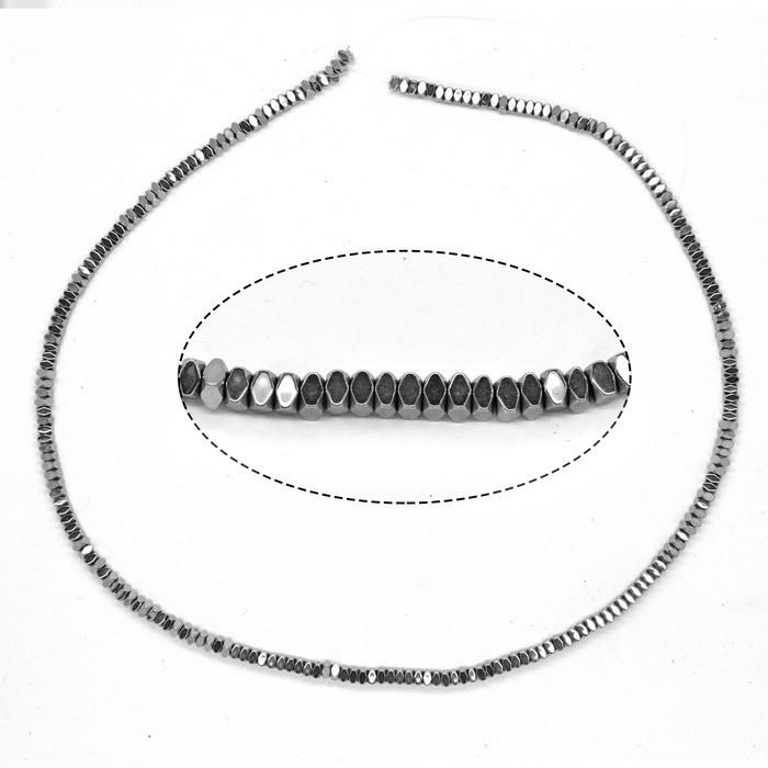 Бусины разделители Рондель квадратный серебро 3х3х2мм