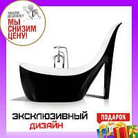 Эксклюзивная акриловая ванна туфелька 180*80 см отдельностоящая  Veronis VP-100 черная