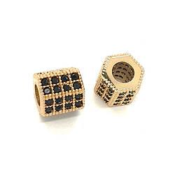 Бусина циркон шестигранник золото 8х8х4мм