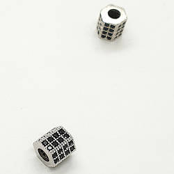 Бусина циркон шестигранник серебро 8х8х4мм
