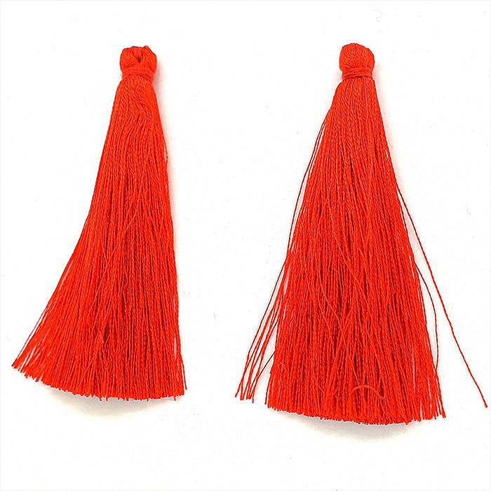Текстильные кисточки. Длина 67мм (8 цветов) Цвет: красный