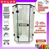 Пятиугольная душевая кабина 90х90 см без поддона Veronis KN-10-90 black прозрачное стекло