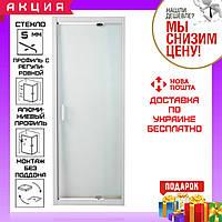 Дверь душевая в нишу 70~80 см распашная Eger 599-111 профиль белый регулируемый