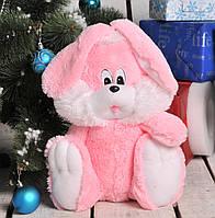 Мягкая игрушка Зайчик сидячий розового цвета