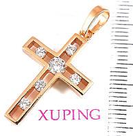 Крестик  xuping с цирконием длина 3.5см к230