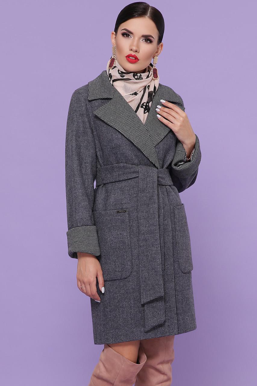 Женское демисезонное пальто шерстяное темно-серое