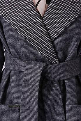 Женское демисезонное пальто шерстяное темно-серое, фото 3