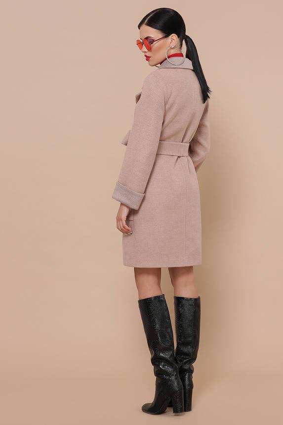Женское шерстяное пальто осеннее персикового цвета, фото 2