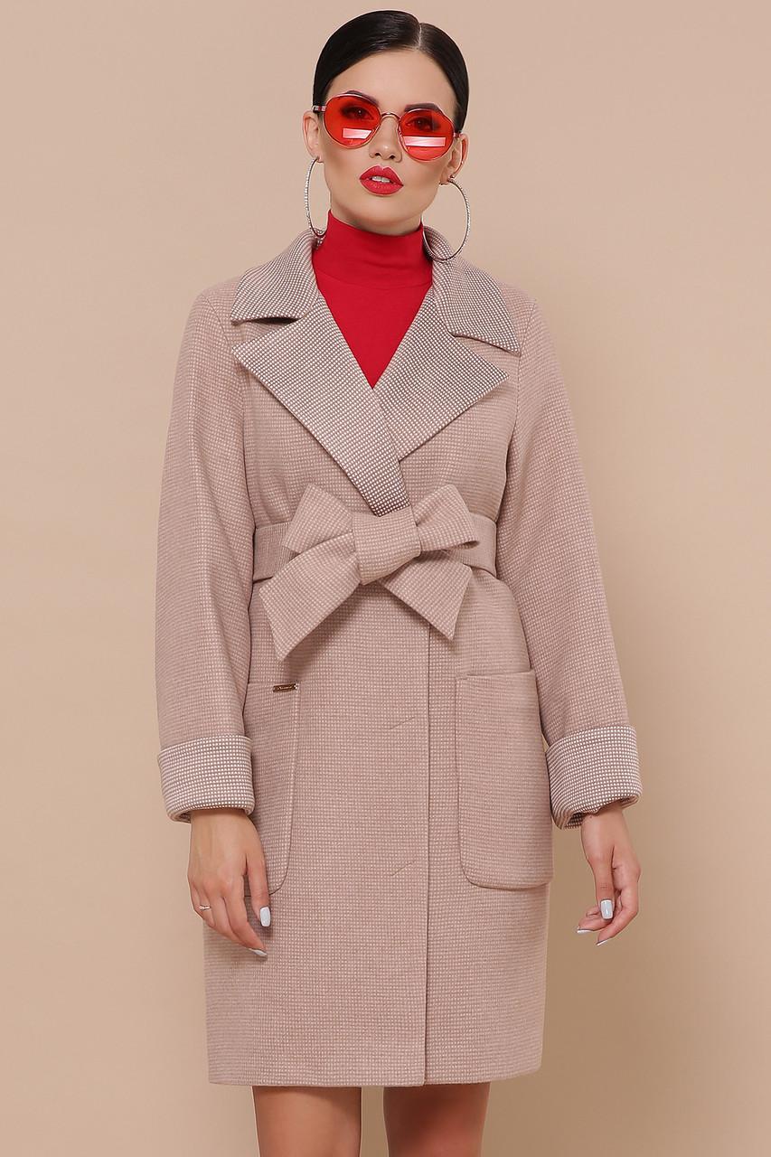 Женское шерстяное пальто осеннее персикового цвета