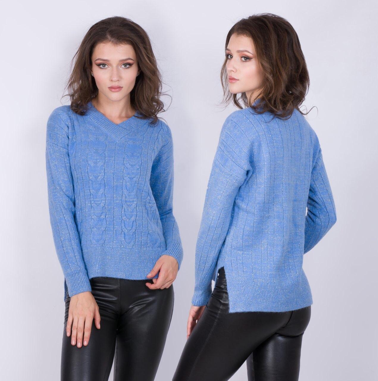 Теплый свитер с треугольным вырезом 44-48