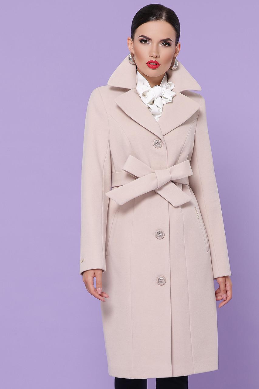 Классическое кашемировое пальто демисезонное цвета пудра