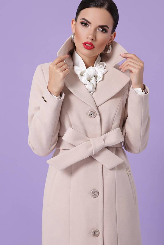 Классическое кашемировое пальто демисезонное цвета пудра, фото 2