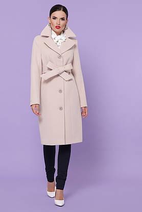 Классическое кашемировое пальто демисезонное цвета пудра, фото 3