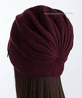 Вязаная шапка утепленная Кармелла бордовая