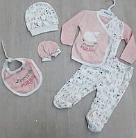 """Набор для новорожденных 5-в-1 с принтом на девочку 0-3 мес.(2 цв) """"MARI"""" купить недорого от прямого поставщика"""