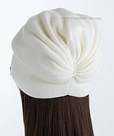 Вязаная шапочка из полушерсти Кармелла белая