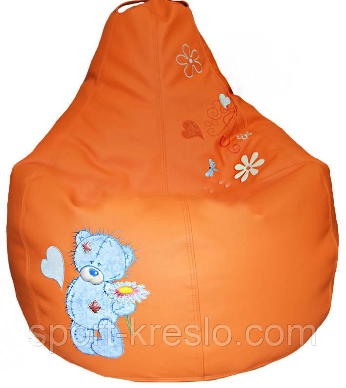 Крісло мішок груша sportkreslo Тедді Екокожа розмір L 95*115см помаранчеве