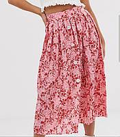 Юбка женская Asos розовая в цветочный принт, размер UK14