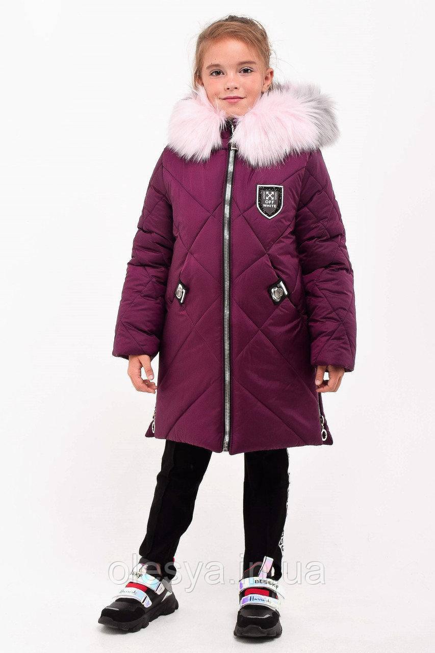 Зимнее пальто, удлиненная куртка на девочку Венеция размеры 104-128
