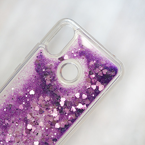 TPU чехол аквариум для Huawei P Smart Plus (INE-LX1) (фиолетовые сердечки и блестки)