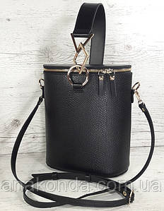 641 Натуральная кожа Сумка женская черная кожаная Сумка-ведро bucketbag Сумка женская из натуральной кожи
