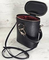 641 Натуральная кожа Сумка женская черная кожаная Сумка-ведро bucketbag Сумка женская из натуральной кожи, фото 2
