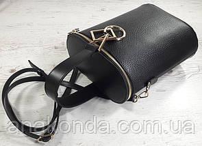 641 Натуральная кожа Сумка женская черная кожаная Сумка-ведро bucketbag Сумка женская из натуральной кожи, фото 3