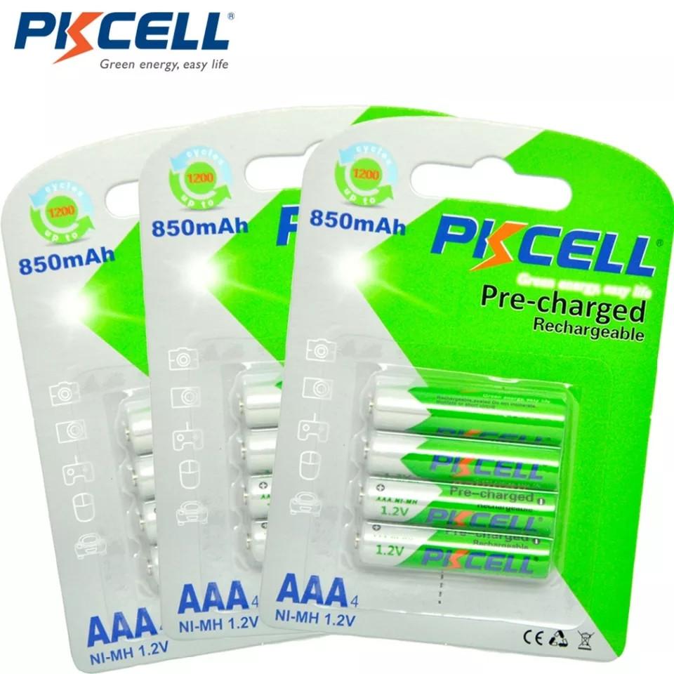 Аккумуляторы Pkcell Ni-Mh AAA 850mAh оригинал 12 шт. блистер 4шт x 3 упаковки