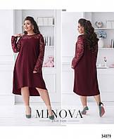 Женское модное асимметричное платье свободного кроя в расцветках больших размеров, 50, 52, 54, 56, 58, 60
