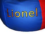 Безкаркасне крісло груша sportkreslo Барселона Екокожа розмір XL 110*130см синій+червоний, фото 6