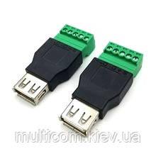 01-08-030. Гнездо USB тип A под кабель c клеммной колодкой, под винты