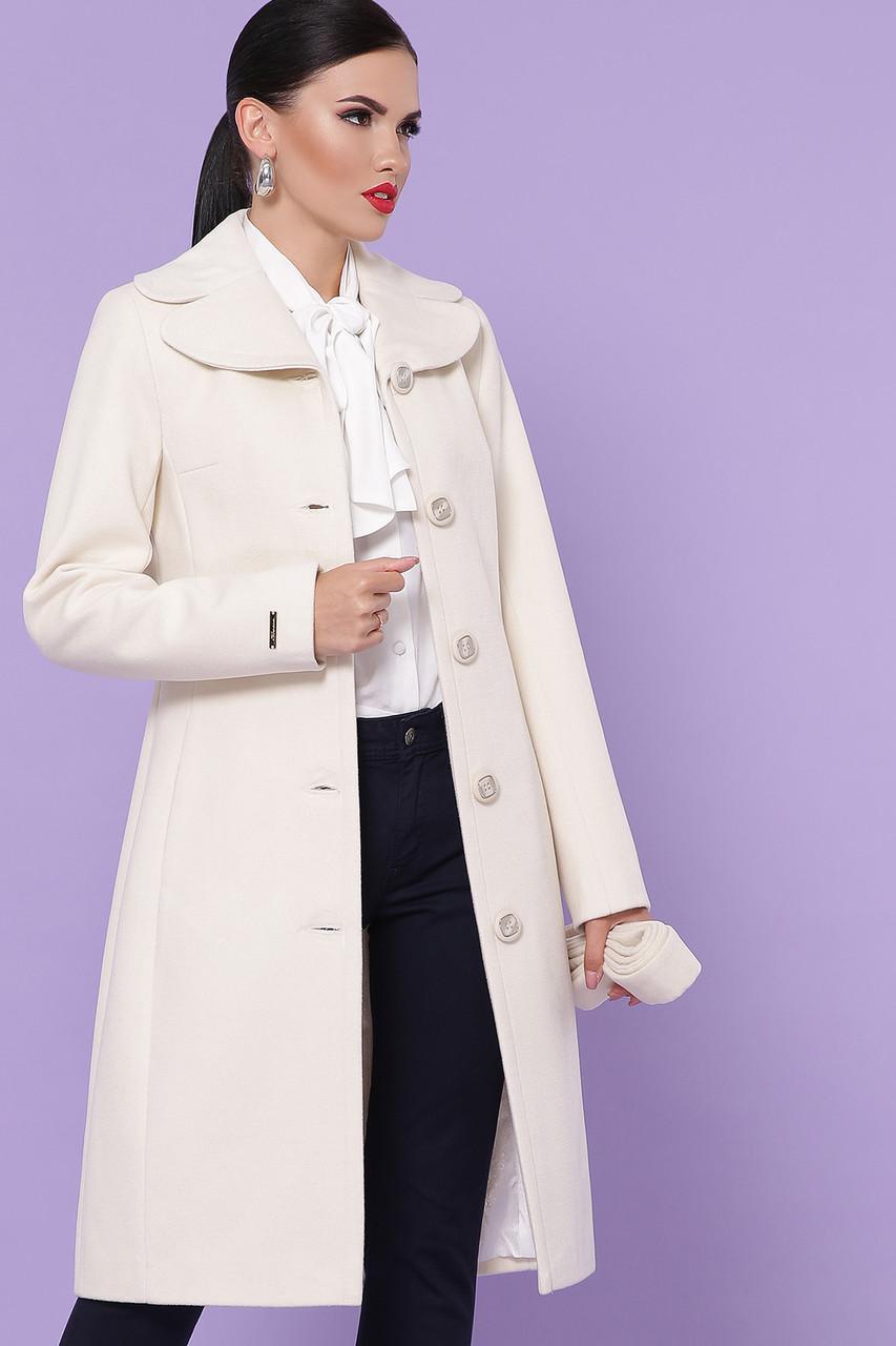 Белое кашемировое пальто демисезонное