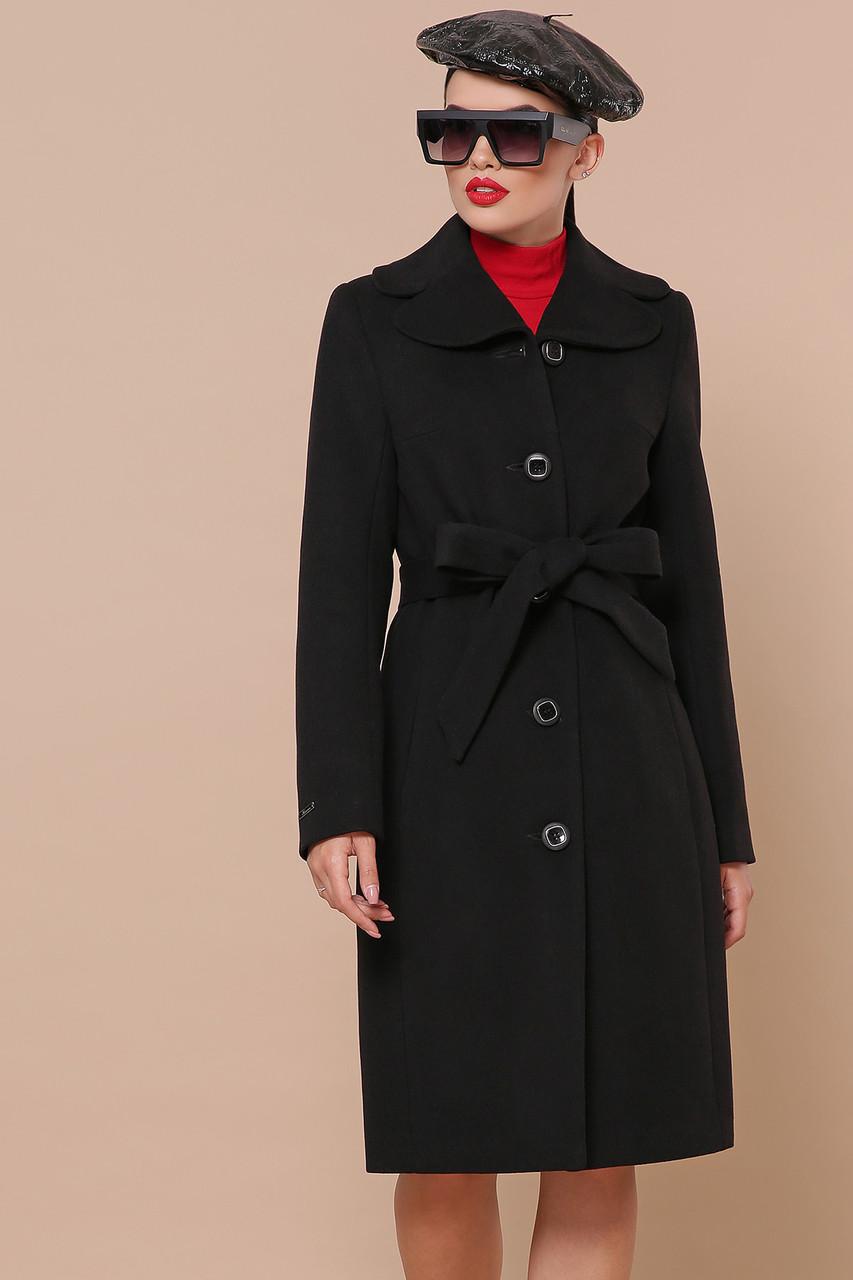Черное кашемировое пальто демисезонное