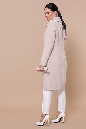 Кашемировое женское пальто демисезонное пудра, фото 2