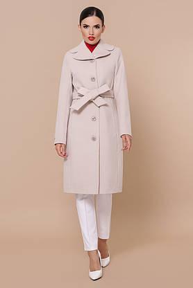 Кашемировое женское пальто демисезонное пудра, фото 3
