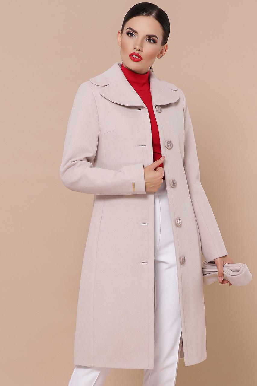 Кашемировое женское пальто демисезонное пудра