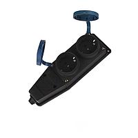 IP45, Каучуковая колодка на два гнезда с заземлением и крышкой Garant, ElectroHouse [EH-2157]