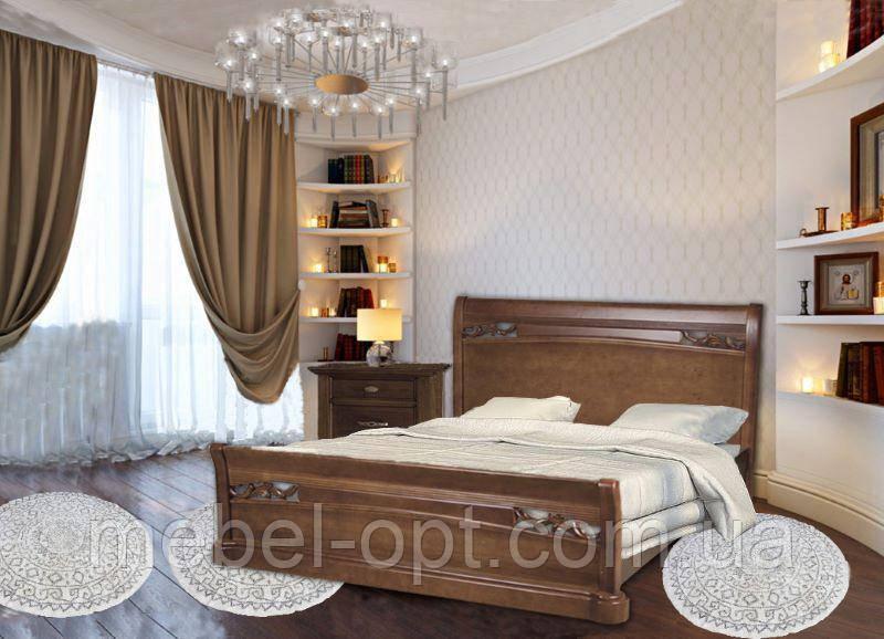 Кровать двуспальная деревянная Шопен с изножьем 180х200, цвет махонь