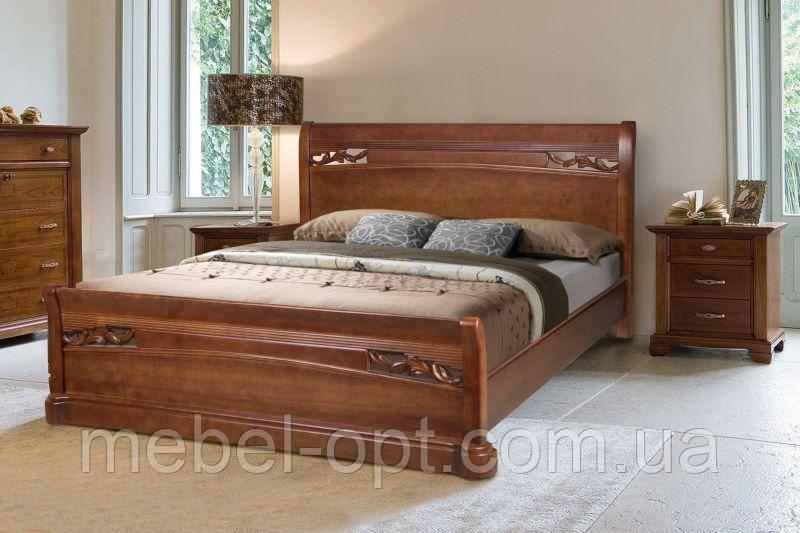 Кровать полуторная деревянная Шопен с изножьем 140х200, цвет орех