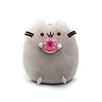 Мягкая игрушка, Пушин кэт, Pusheen cat с пончиком, Серый (104-gv)