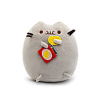 Мягкая игрушка, Пушин кэт, Pusheen cat с чипсами, Серый (105-gv)