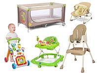 Детская комната: манежи, шезлонги качалки, стульчики, ходунки и качели