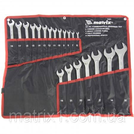 Набор ключей комбинированных 6-32 мм, 20 шт, CrV, полированный хром  MTX (Matrix) 154419