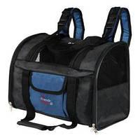 2882  Сумка-рюкзак для кошек и собак до 8кг, нейлон, черный/синий, до 8кг.