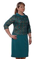 Платье бирюзового цвета нарядное ,трикотаж , бирюза,Пл 105-2, 50-52,54-56,58-60.