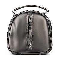 Женская сумка-клатч из натуральной кожи серого цвета, фото 1