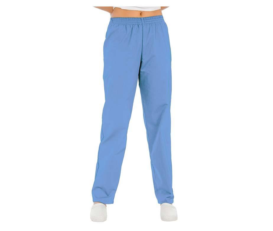 Штаны медицинские женские голубые на резинке без карманов Atteks - 03205
