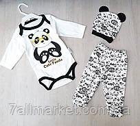 """Комплект двойка Panda с шапочкой и принтом на мальчика 56-62 см """"MARI"""" купить недорого от прямого поставщика"""
