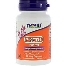 """7-КЕТО - ДГЭА, NOW Foods """"7-KETO"""" 100 мг, контроль веса (60 капсул)"""