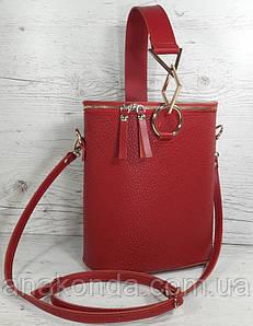 642 Натуральная кожа Сумка женская красная кожаная Сумка-ведро bucket bag Сумка женская из натуральной кожи